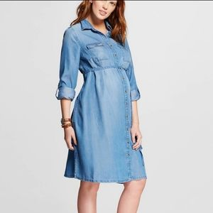 Maternity Tie Waist Midi Shirt Dress
